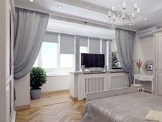 фото интерьер спальни с балконом