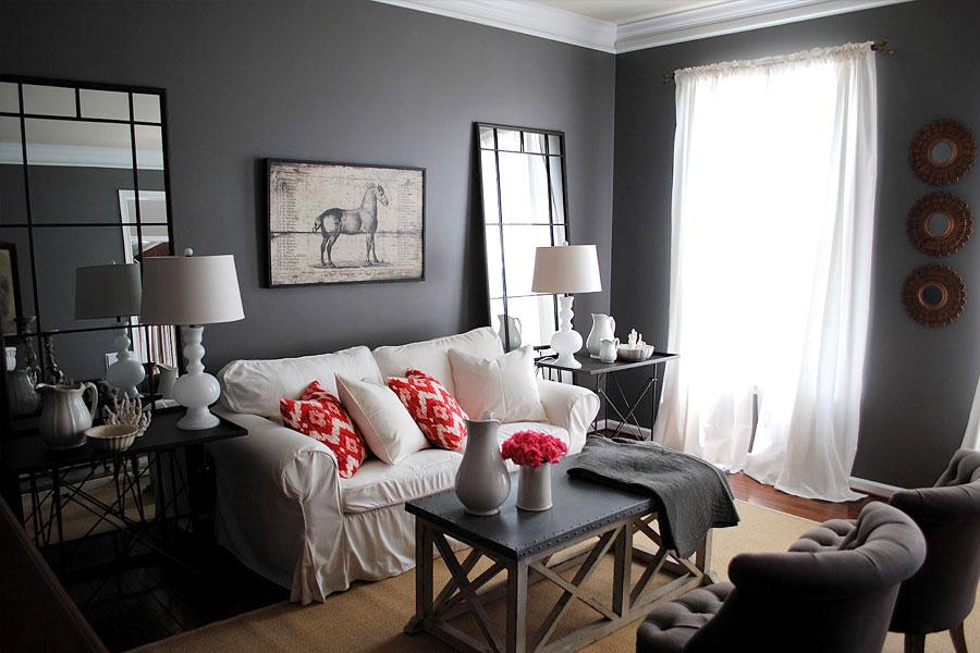 Обои серого цвета в интерьере гостиной фото