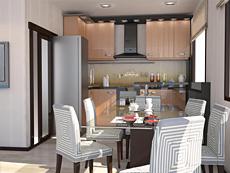 Интерьер кухни 9,4 метра в квартире 78,5 кв.м