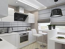 Интерьер кухни 10,1 метра в квартире 89 кв.м