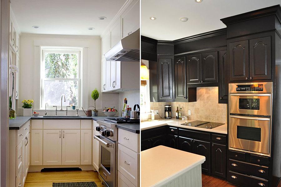 Черный и белый в интерьере кухни 9 метров