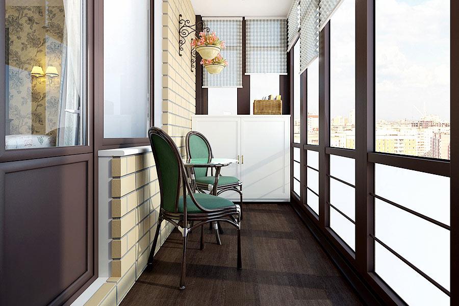 Дизайн балкона кирпичного