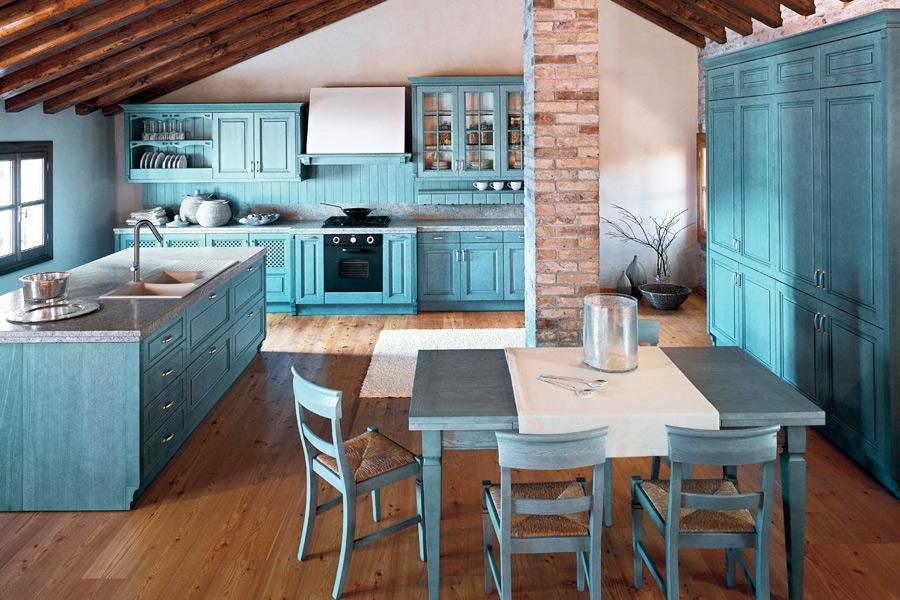 голубые кухни в интерьере фото