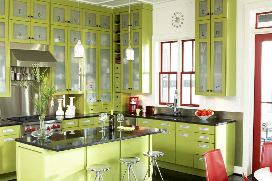 Кухни в салатовом цвете фото