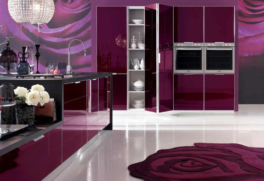 Кухни фиолетового цвета в интерьере фото