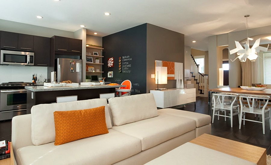Современный дизайн кухни-гостиной в современных домах