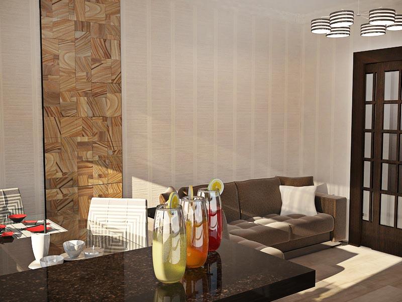 Дизайн-проект интерьера трехкомнатной квартиры 78,5 кв.м: зона отдыха в гостиной-кухне