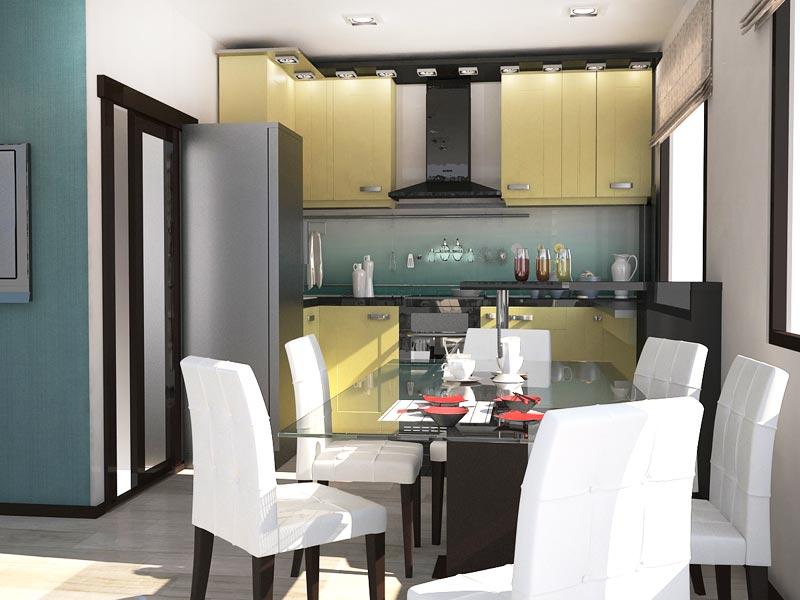 Дизайн-проект интерьера трехкомнатной квартиры 78,5 кв.м - кухня