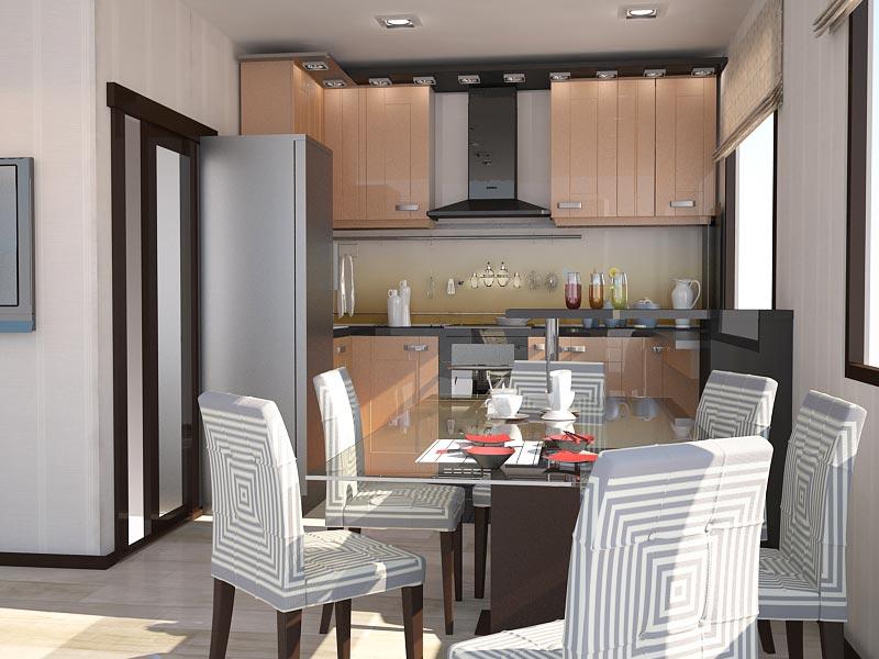 Дизайн-проект интерьера трехкомнатной квартиры 78,5 кв.м: зона кухни