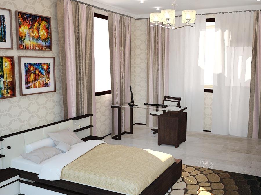 Дизайн-проект интерьера трехкомнатной квартиры 78,5 кв.м: спальня