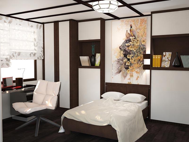 Дизайн-проект интерьера трехкомнатной квартиры 78,5 кв.м: детская в японском стиле