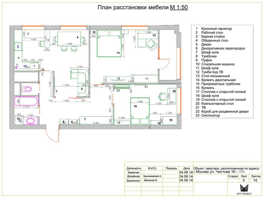 Дизайн-проект интерьера трехкомнатной квартиры 78,5 кв.м