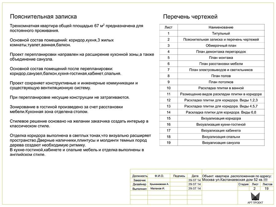 Пояснительная записка к дизайн-проекту интерьера загородного дома