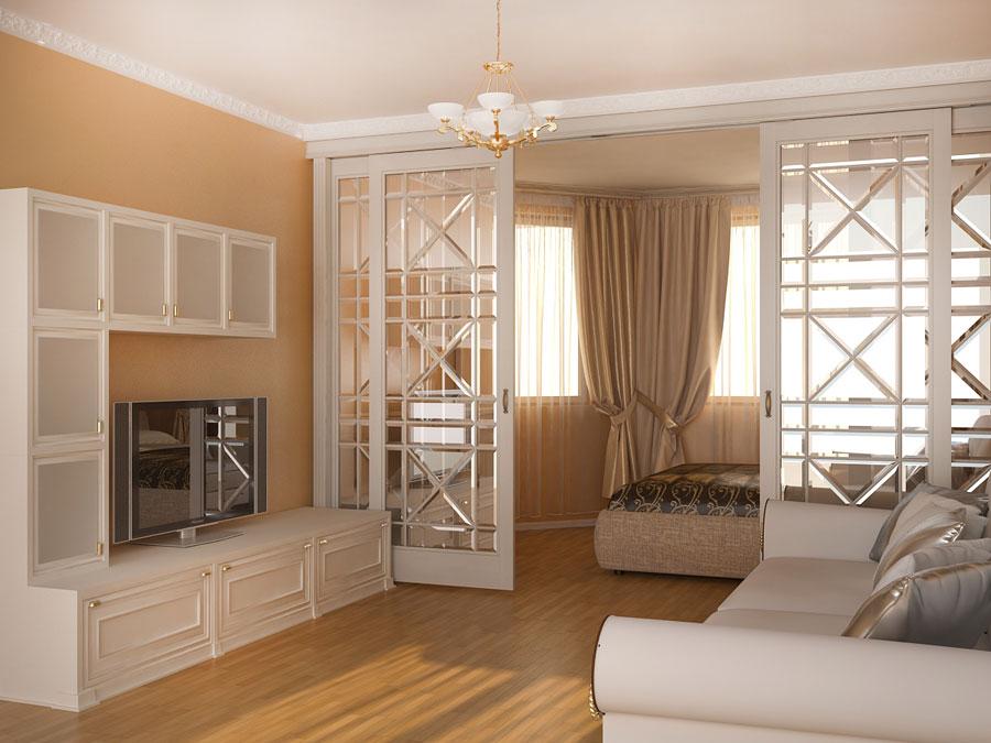 Дизайн зонирования комнаты на спальню и гостиную