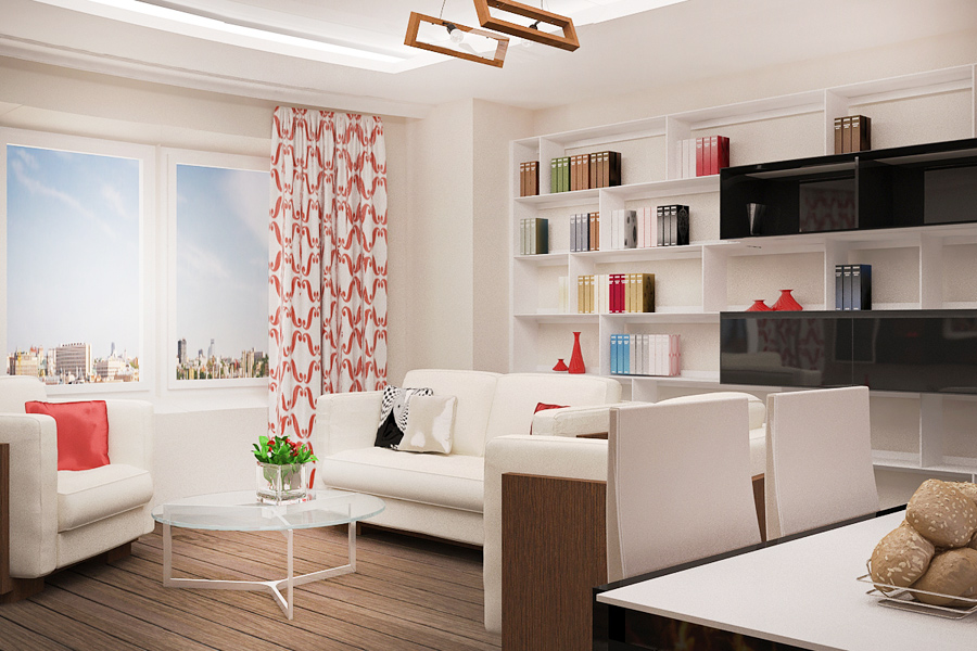 Дизайн проект кухни совмещенной с гостиной в бежевых тонах тонах 119